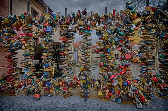 HDR Love locks waterwheel Prague Czech Republic